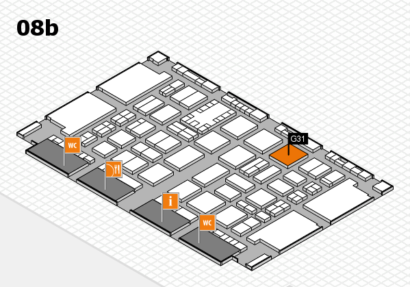 TOP HAIR DÜSSELDORF 2017 hall map (Hall 8b): stand G31