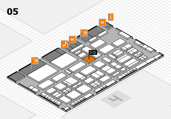 TOP HAIR - DIE MESSE 2018 hall map (Hall 5): stand D12