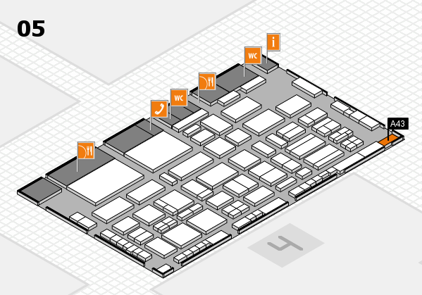 TOP HAIR - DIE MESSE 2018 hall map (Hall 5): stand A43