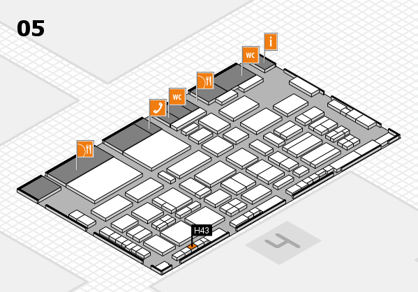 TOP HAIR - DIE MESSE 2018 hall map (Hall 5): stand H43