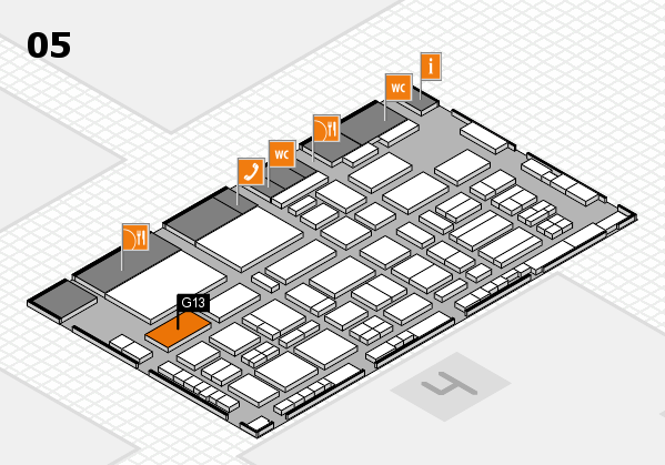 TOP HAIR - DIE MESSE 2018 hall map (Hall 5): stand G13