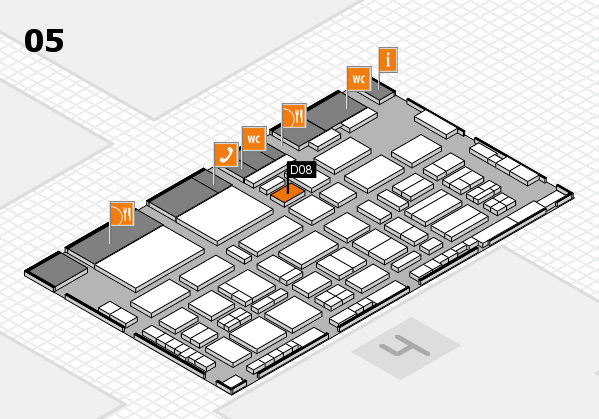 TOP HAIR - DIE MESSE 2018 hall map (Hall 5): stand D08