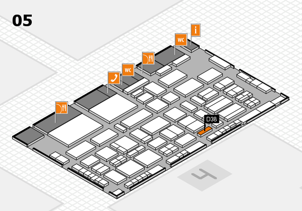 TOP HAIR - DIE MESSE 2018 hall map (Hall 5): stand D38