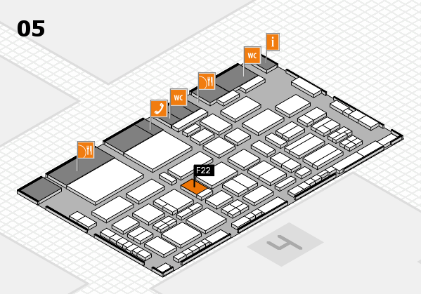 TOP HAIR - DIE MESSE 2018 hall map (Hall 5): stand F22