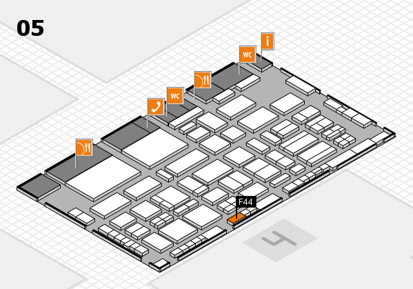 TOP HAIR - DIE MESSE 2018 hall map (Hall 5): stand F44