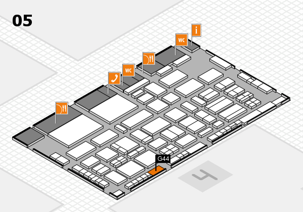 TOP HAIR - DIE MESSE 2018 hall map (Hall 5): stand G44
