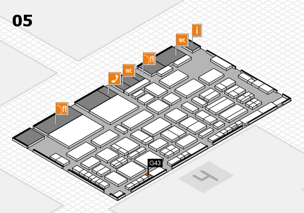 TOP HAIR - DIE MESSE 2018 hall map (Hall 5): stand G43