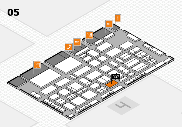 TOP HAIR - DIE MESSE 2018 hall map (Hall 5): stand D37