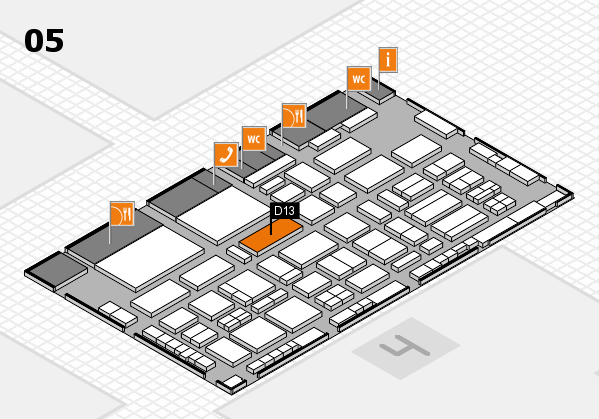 TOP HAIR - DIE MESSE 2018 hall map (Hall 5): stand D13