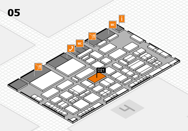TOP HAIR - DIE MESSE 2018 hall map (Hall 5): stand D21