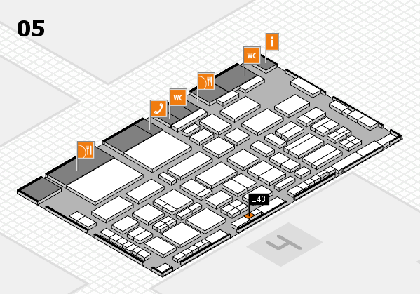 TOP HAIR - DIE MESSE 2018 hall map (Hall 5): stand E43