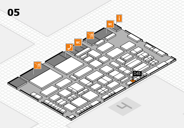 TOP HAIR - DIE MESSE 2018 hall map (Hall 5): stand D45